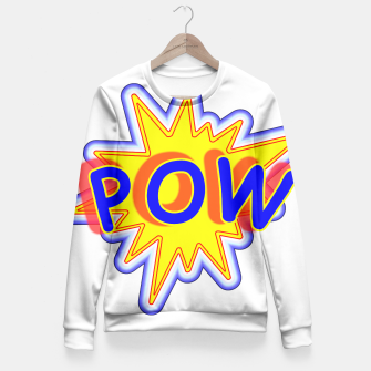 Thumbnail image of Pow Fun Bright Comic Book Popping Graphic Fitted Waist Sweater, Live Heroes