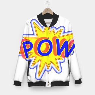 Thumbnail image of Pow Fun Bright Comic Book Popping Graphic Baseball Jacket, Live Heroes