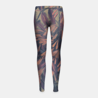 Thumbnail image of Ash-tree in olive, brown & blush Girl's Leggings, Live Heroes