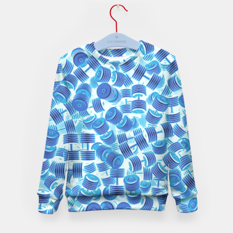 Thumbnail image of Dumbbell Camo BLUE Kid's Sweater, Live Heroes