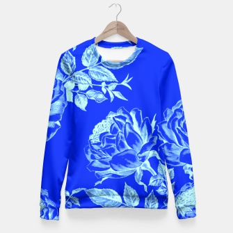 Florescent Blue Roses  Fitted Waist Sweater thumbnail image