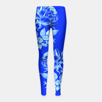 Florescent Blue Roses  Girl's Leggings thumbnail image