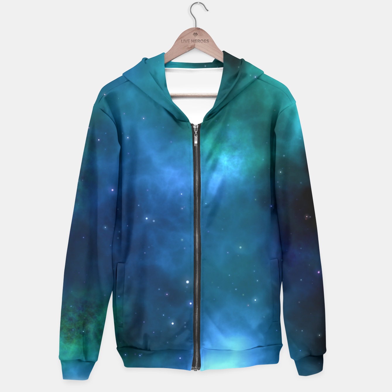 Image of Blue Turquoise Galaxy  Hoodie - Live Heroes