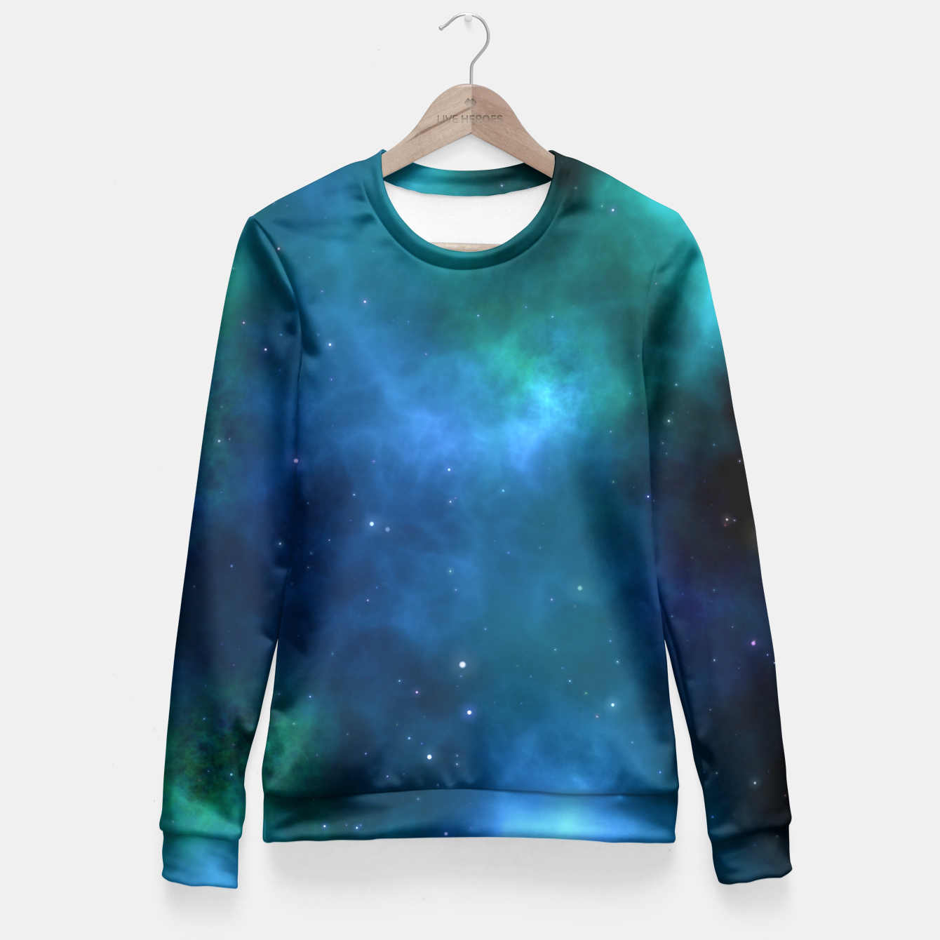 Image of Blue Turquoise Galaxy  Fitted Waist Sweater - Live Heroes