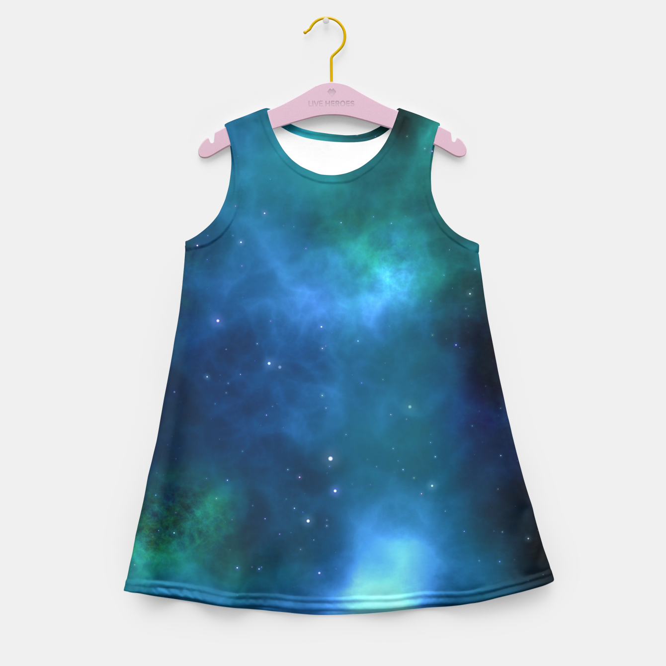 Image of Blue Turquoise Galaxy  Girl's Summer Dress - Live Heroes