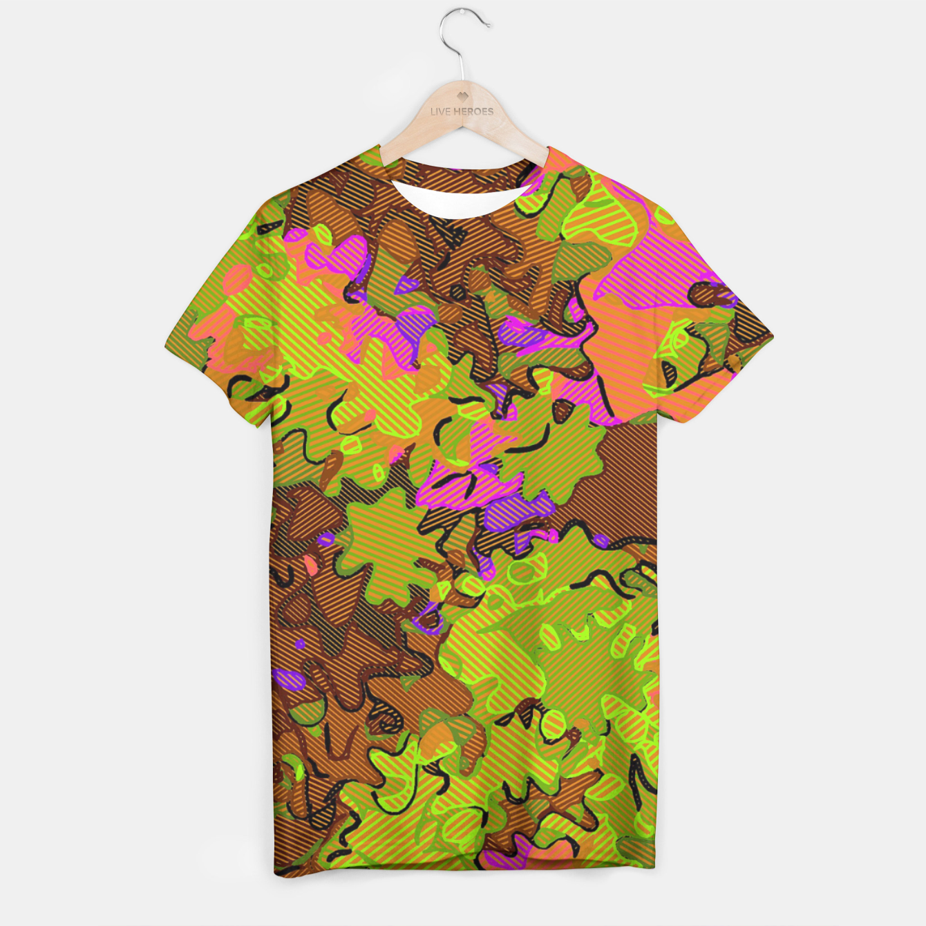 Image of Florescent Camouflage  T-shirt - Live Heroes