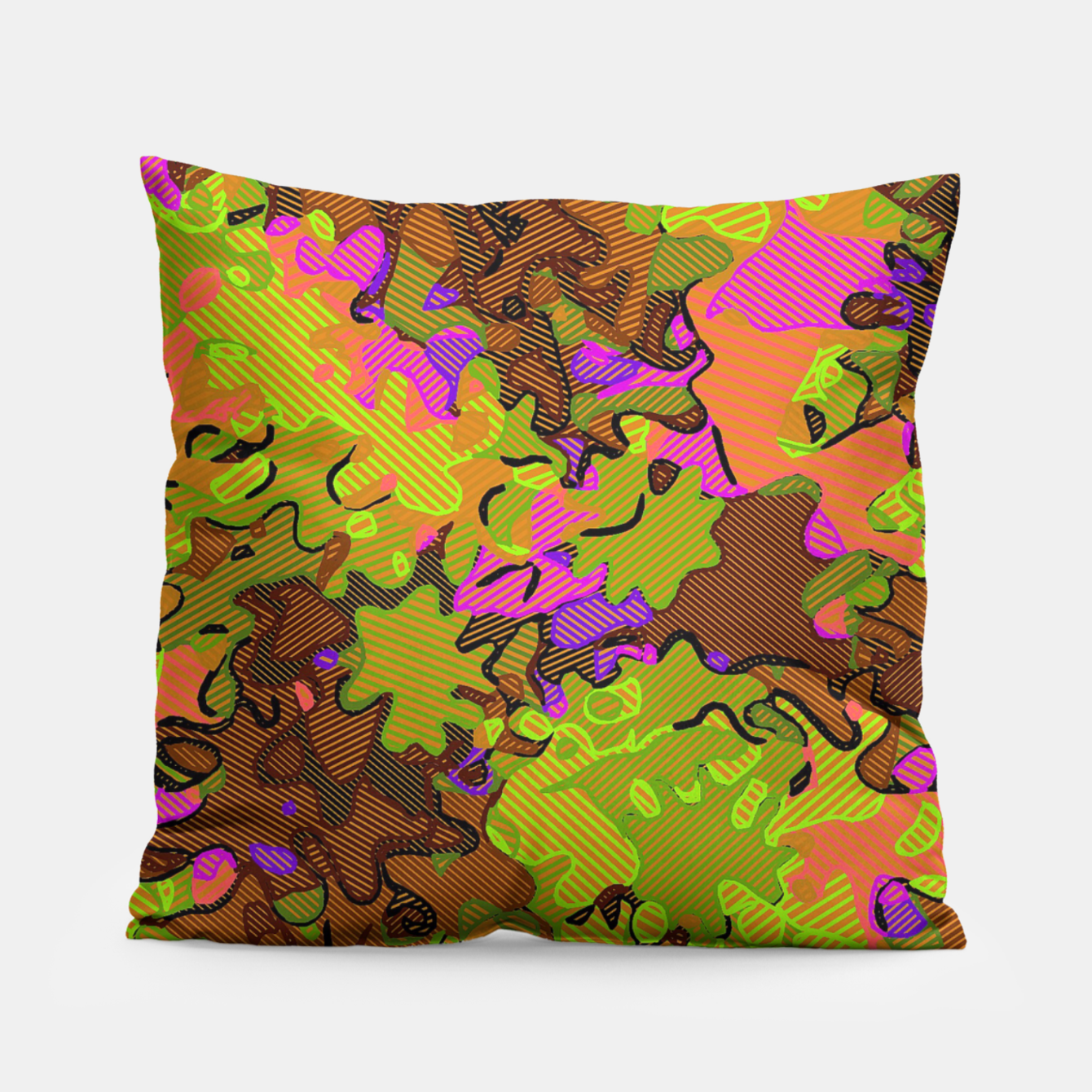 Image of Florescent Camouflage  Pillow - Live Heroes