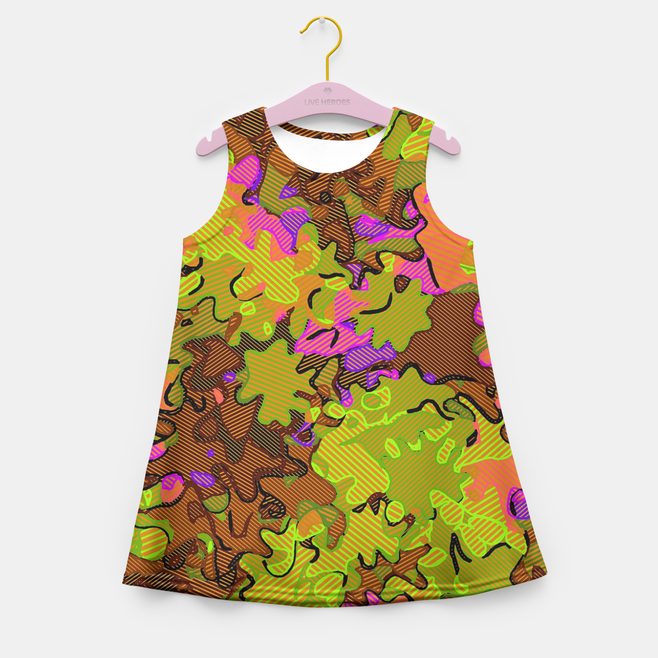 Image of Florescent Camouflage  Girl's Summer Dress - Live Heroes