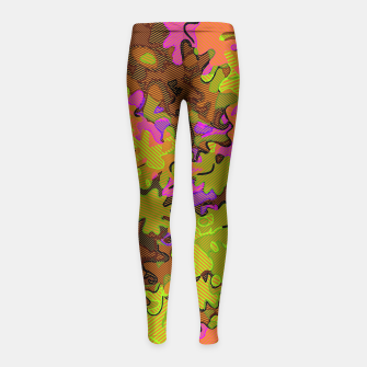 Thumbnail image of Florescent Camouflage  Girl's Leggings, Live Heroes