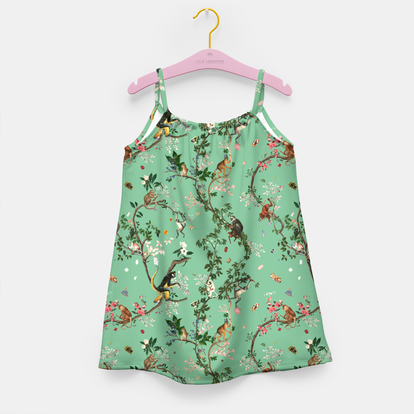 Image of Monkey World Green kid Dress - Live Heroes