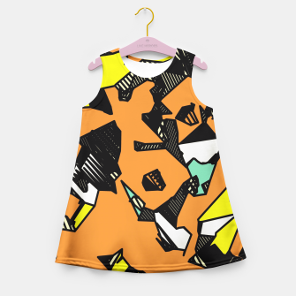 Miniatur grunge geometric graffiti drawing and painting abstract in brown yellow and black Girl's Summer Dress, Live Heroes