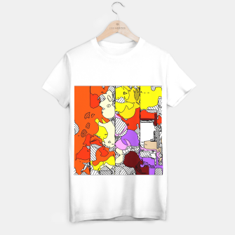 Miniatur geometric graffiti drawing and painting abstract in orange red yellow purple brown and blue T-shirt regular, Live Heroes