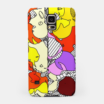 Miniatur geometric graffiti drawing and painting abstract in orange red yellow purple brown and blue Samsung Case, Live Heroes