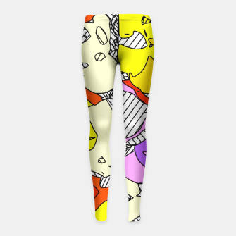 Miniatur geometric graffiti drawing and painting abstract in orange red yellow purple brown and blue Girl's Leggings, Live Heroes