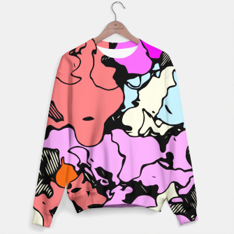 Miniatur psychedelic graffiti drawing and painting abstract in red pink purple and blue Sweater, Live Heroes