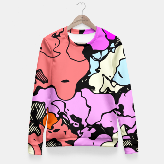 Miniatur psychedelic graffiti drawing and painting abstract in red pink purple and blue Fitted Waist Sweater, Live Heroes