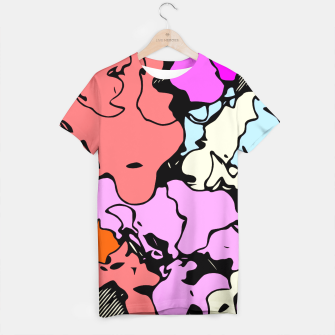 Miniatur psychedelic graffiti drawing and painting abstract in red pink purple and blue T-shirt, Live Heroes