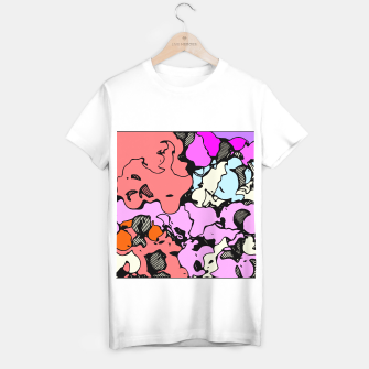 Miniatur psychedelic graffiti drawing and painting abstract in red pink purple and blue T-shirt regular, Live Heroes