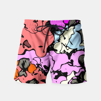 Miniatur psychedelic graffiti drawing and painting abstract in red pink purple and blue Swim Shorts, Live Heroes