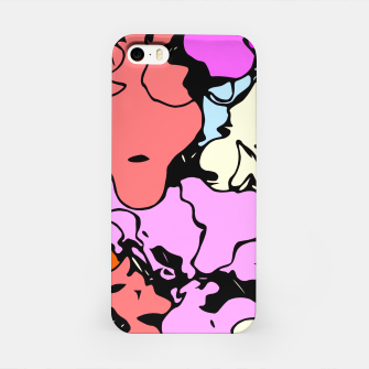 Miniatur psychedelic graffiti drawing and painting abstract in red pink purple and blue iPhone Case, Live Heroes