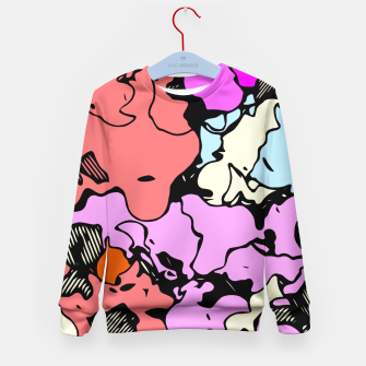 Miniatur psychedelic graffiti drawing and painting abstract in red pink purple and blue Kid's Sweater, Live Heroes