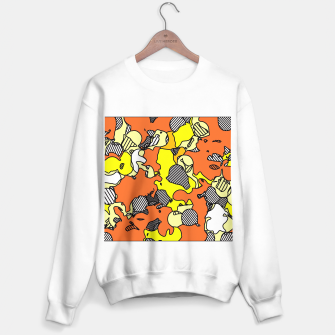 Miniatur psychedelic graffiti drawing and painting abstract in orange and yellow Sweater regular, Live Heroes