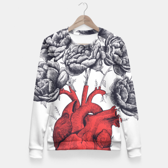 Thumbnail image of Heart with peonies Fitted Waist Sweater, Live Heroes