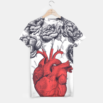 Thumbnail image of Heart with peonies T-shirt, Live Heroes