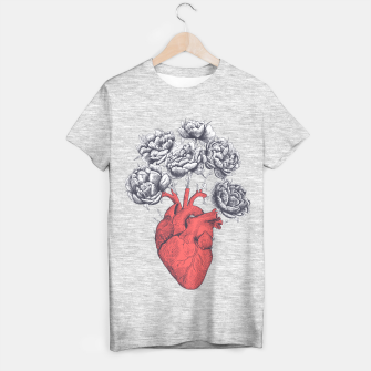 Thumbnail image of Heart with peonies T-shirt regular, Live Heroes