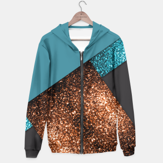 Miniaturka Aqua blue and bronze sparkles modern color block Hoodie, Live Heroes
