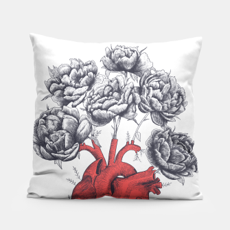Thumbnail image of Heart with peonies Pillow, Live Heroes