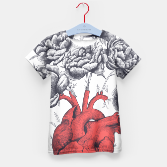 Thumbnail image of Heart with peonies Kid's T-shirt, Live Heroes