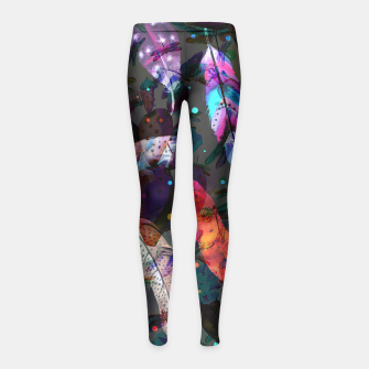 Thumbnail image of floating feathers girl's leggings, Live Heroes