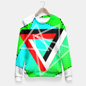 Thumbnail image of Geometric Optical Illusion Fusion Fitted Waist Sweater, Live Heroes