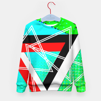 Thumbnail image of Geometric Optical Illusion Fusion Kid's Sweater, Live Heroes
