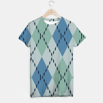 Thumbnail image of green and blue argyle T-shirt, Live Heroes