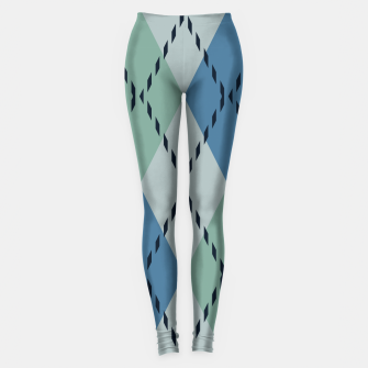 Thumbnail image of green and blue argyle Leggings, Live Heroes