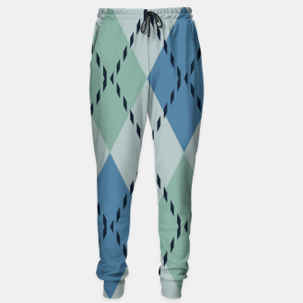 Thumbnail image of green and blue argyle Sweatpants, Live Heroes