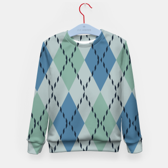 Thumbnail image of green and blue argyle Kid's Sweater, Live Heroes
