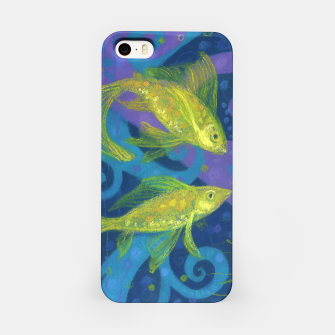 Thumbnail image of Golden Fishes,  underwater art, blue & yellow iPhone Case, Live Heroes
