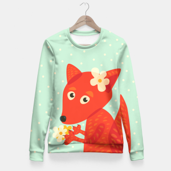 Thumbnail image of Cute Fox And Flowers Fitted Waist Sweater, Live Heroes