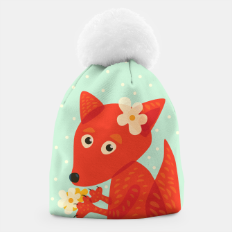Thumbnail image of Cute Fox And Flowers Beanie, Live Heroes