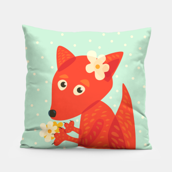Thumbnail image of Cute Fox And Flowers Pillow, Live Heroes
