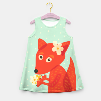 Thumbnail image of Cute Fox And Flowers Girl's Summer Dress, Live Heroes