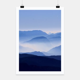 Miniatur Blue Mountains Meditative Relaxing Landscape Scene Poster, Live Heroes