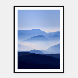 Miniatur Blue Mountains Meditative Relaxing Landscape Scene Framed poster, Live Heroes
