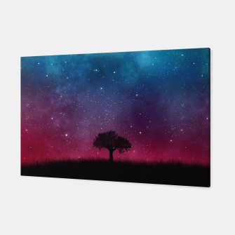 Miniatur Galaxy Cosmos Sky - Black Tree - Blue Pink Scenery Canvas, Live Heroes