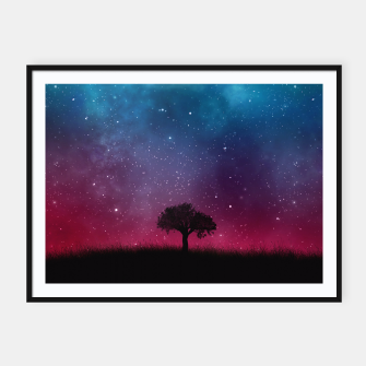 Miniatur Galaxy Cosmos Sky - Black Tree - Blue Pink Scenery Framed poster, Live Heroes