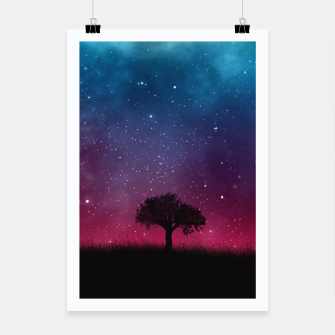 Miniatur Galaxy Cosmos Sky - Black Tree - Blue Pink Scenery Poster, Live Heroes