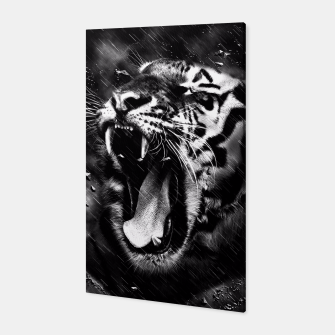 Thumbnail image of Black & White Beautiful Tiger Head Wildlife Canvas, Live Heroes